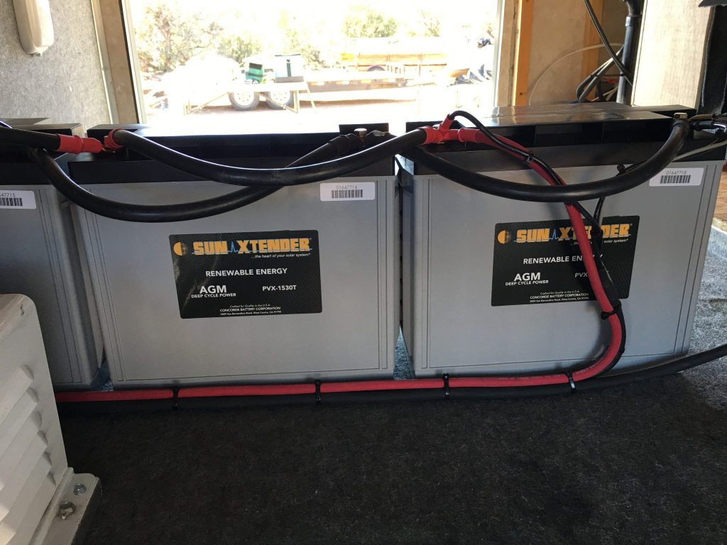 44 Off Grid Solar System Fort Rock Farms Series Parallel Battery Wiring Northernarizonawindandsun Installing Inside The Rv Would Make Maintaining Flooded Batteries A Pain Not To Mention Venting Issues From Charging Gasses This Is As Safe And Maintenance